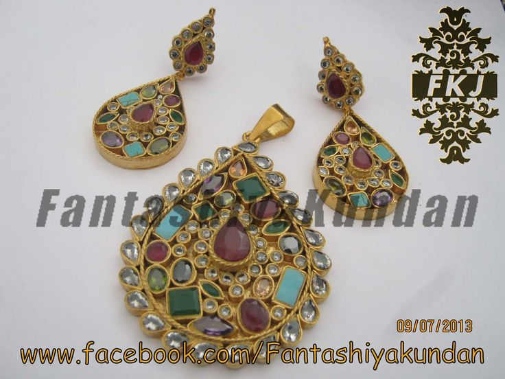 Kundan Pandant Set With Real Multi Stones Available for sale  For More Designs plz visit Our Facebook Page  we are jewellery maker and wholesalers and deals in all kinds of jewells items  For More details email or call  0092-321-7509295