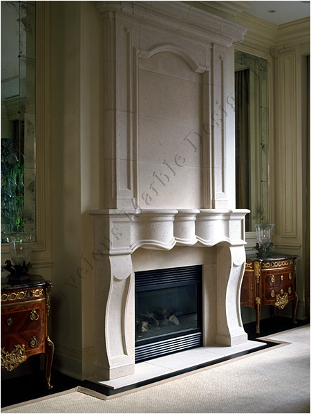 marble and limestone fireplace mantel