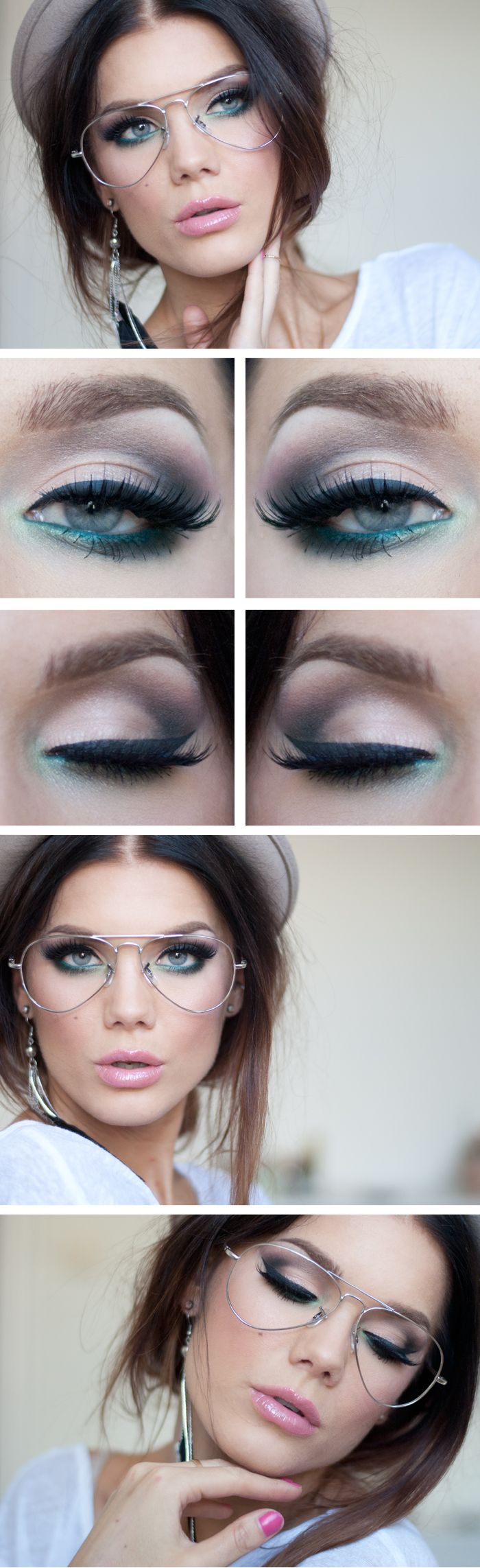 """Today's Look : """"Time Zone"""" -Linda Hallberg (beautiful smokey eye with an awesome teal smudged on lower lash line... paired with a light bubblegum pink. The glasses are a nice touch.)08/23/13"""