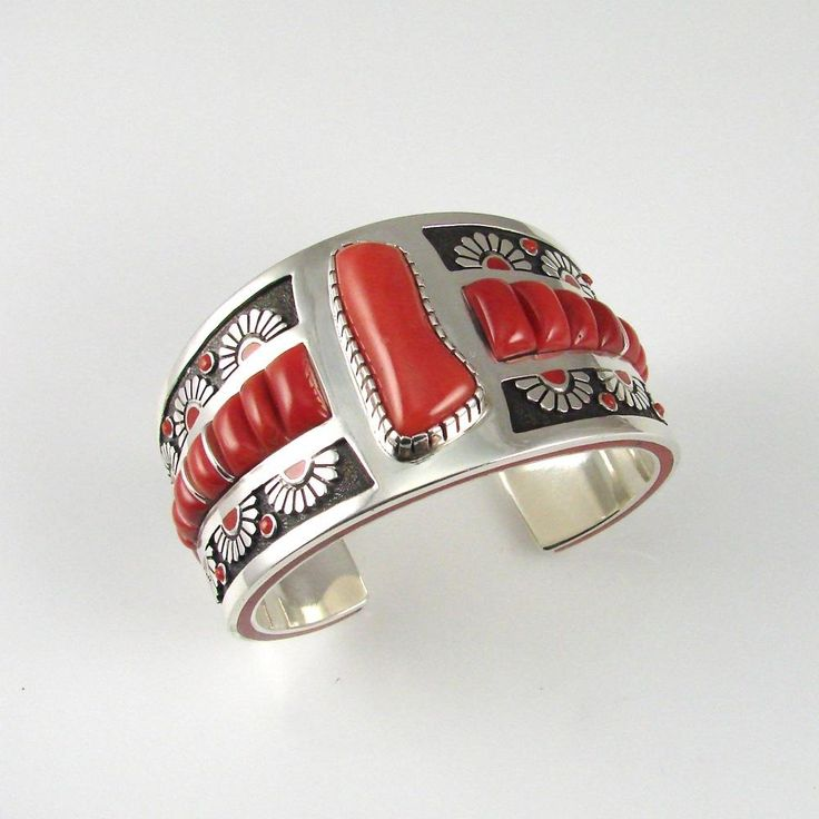 Cuff | Michael Perry (Navajo).  Sterling silver and Mediterranean Coral.