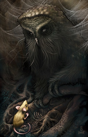 Stephen Reinfurt  --  Mrs. Frisby and the Owl    This illustration was inspired by an early 80s animated movie called the The Secret of NIMH. There's a scene where Mrs. Brisby reluctantly meets with a very old owl (with glowing red eyes) for advice on how to help her dying son.