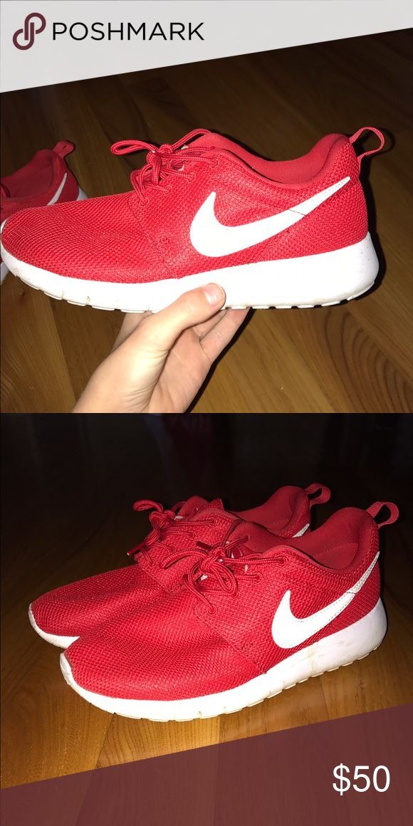 Red nike roshe runs Only wore a couple of times and lost interest! If you have by questions ask them! Open to offers!!! Nike Shoes Athletic Shoes