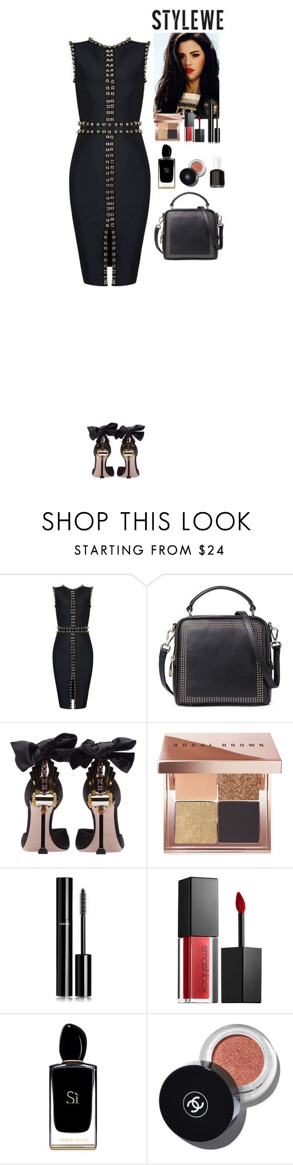 Black dress StyleWe by eliza-redkina on Polyvore featuring мода, Miu Miu, Chanel, Bobbi Brown Cosmetics, Smashbox, Giorgio Armani and Essie