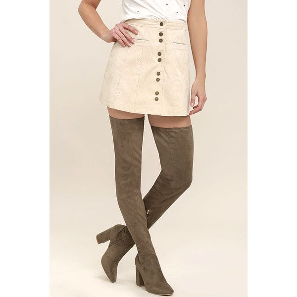 Bellatrix Taupe Suede Thigh High Boots ($63) ❤ liked on Polyvore featuring shoes, boots, brown, stretch thigh high boots, brown suede over the knee boots, suede boots, taupe over the knee boots and taupe suede over the knee boots