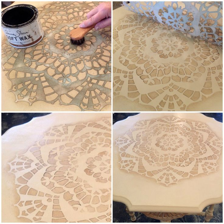 Using Annie Sloan​'s Dark Wax over a Chalk Paint​ base coat is a simple way to step up your game when dealing with one color! TLC Vintage Collection​ made our Diana Lace Doily Stencil POP! (Royal Design Studio lace furniture stencils)
