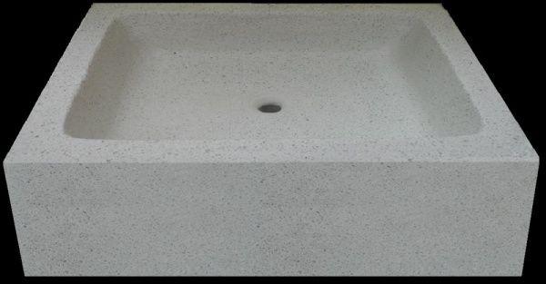 dřez z bílého leštěného betonu cm 54x44x25h