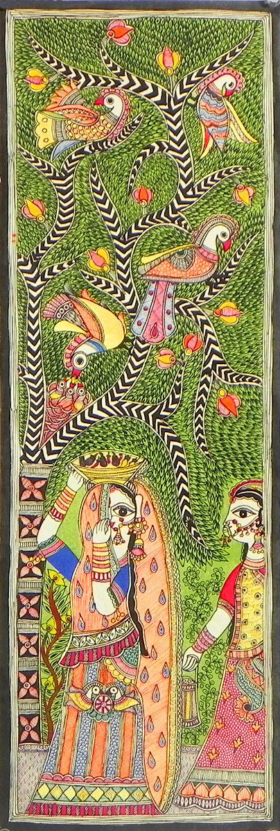 Two Rajasthani Ladies Standing Under Tree Full of Colorful Birds (Madhubani Folk Art on Paper - Unframed)