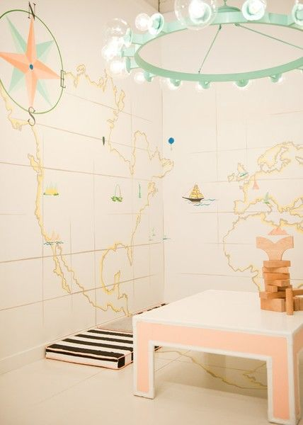 For the Young Lady. A playroom for wanderlust in white, peach, and blue. Interior Designer: Sharon Taylor.