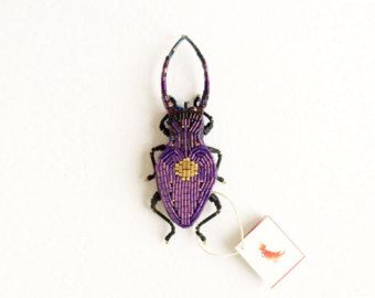 Saphire-beetle brooch by peresvetti on Etsy