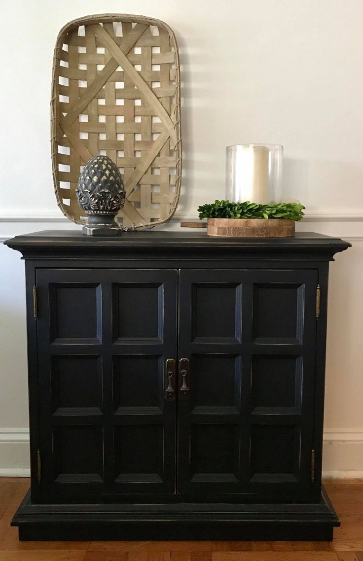 Ethan Allen Console Cabinet In Lamp Black. Black Painted FurniturePaint ...