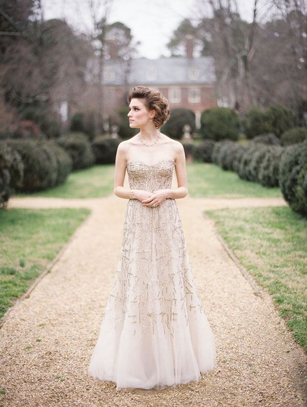 Metallic Gold Monique Lhuillier Wedding Dress   Elisa Bricker Photography   See More! http://heyweddinglady.com/fab-bridal-alternatives-white-wedding-dress/