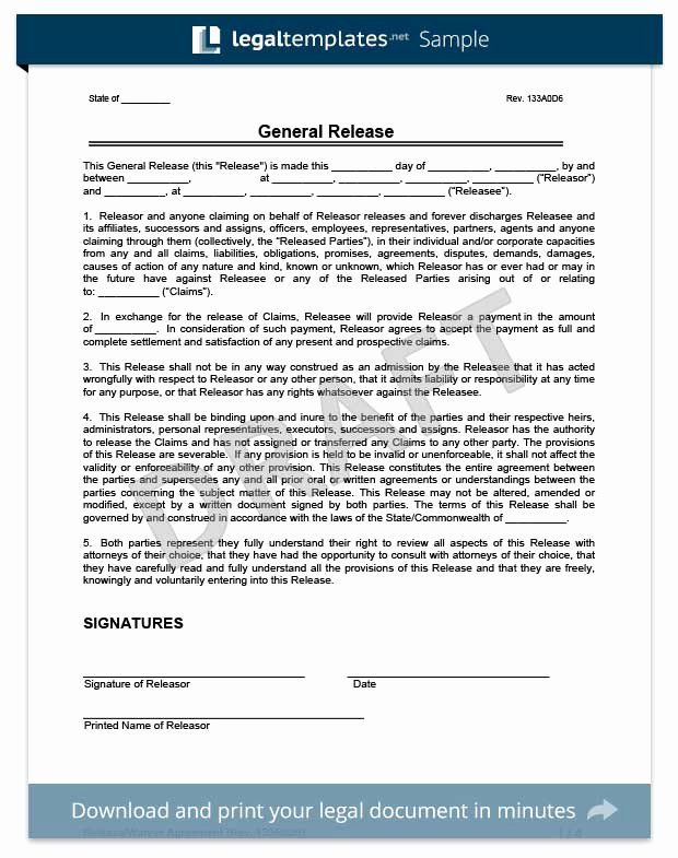 General Liability Waiver Form Template Beautiful Free Release Of