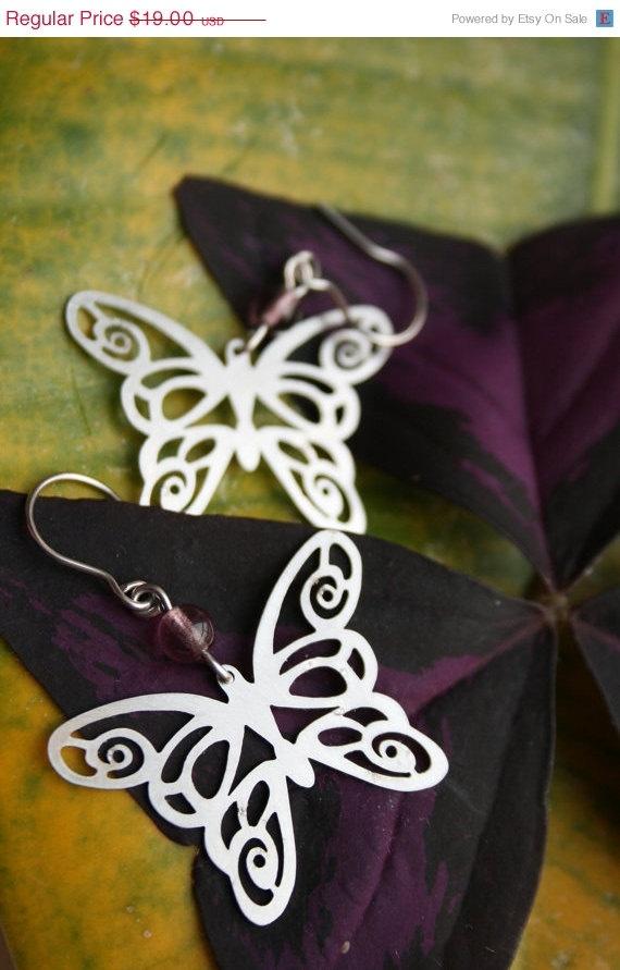 ON SALE Butterfly earrings stainless steel by HorakovaDesigns, $9.00