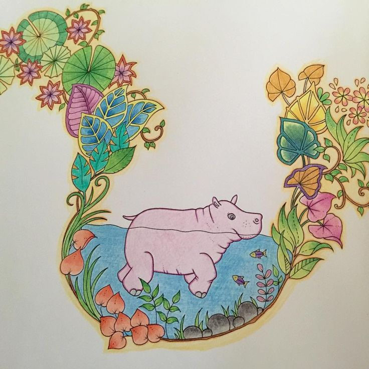 Happy hippo johannabasford magicaljungle colouring