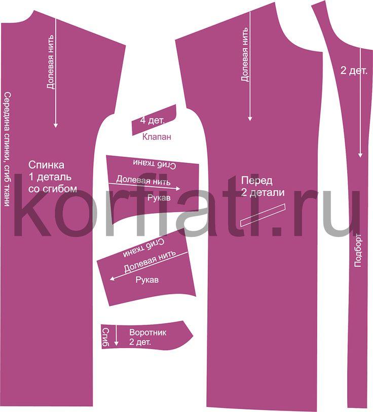 Выкройка простого пальто – детали кроя