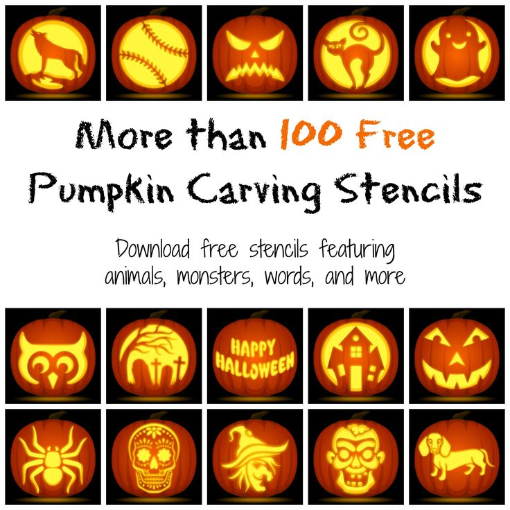 A large collection of pumpkin carving stencils with animals, faces, monsters, and more. Free PDF downloads for each stencil at http://pumpkinstencils.org/