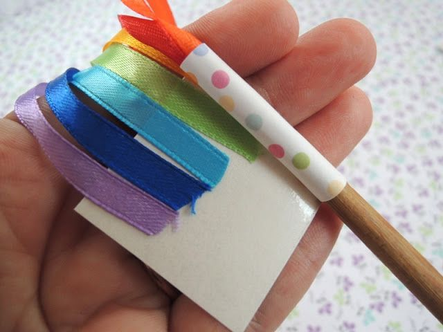 "sol da eira makes rainbow dance wands with bamboo chopsticks, colour ribbons & colour tape/washi tape ("",)"