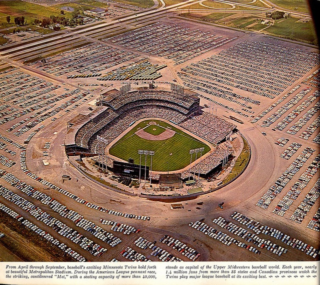 The old Met Stadium in Bloomington. Former home of the Minnesota Twins and Vikings before moving to the Metrodome in Minneapolis.  Opened 4/24/56. Closed 12/20/81. Demolished 1/28/85 -- Mall of America now stands in its place.