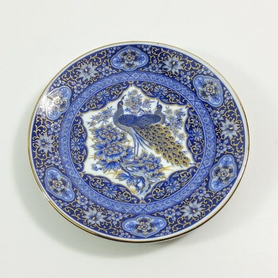 Japanese Decorative Plate Blue Gold White Plate Gilded