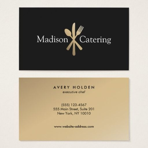88 best food and beverage catering chef and restaurant gold knife spoon and fork catering logo black business card reheart Image collections
