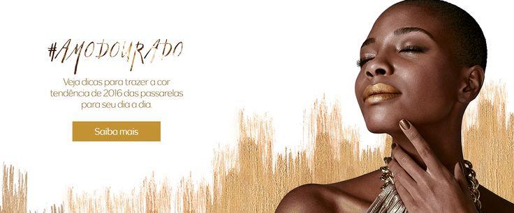 Adoro Maquiagem Sombra cremosa dourada o make da estação
