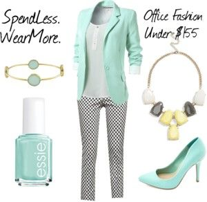 Fall 2013 Office Fashions for the Budget Conscious - ENTIRE OUTFIT UNDER $155!  - Pastel Mint Blazer $26 Amazon.com/ Charlotte Russe mint green pumps $30/ Bracelet Target $40/ Essie green nail polish Kohls $8 / BP. Stone Statement Necklace (Juniors) Nordstrom $22/ The 7th Avenue Slim Ankle Pant – Polka Dots – New York & Company $25