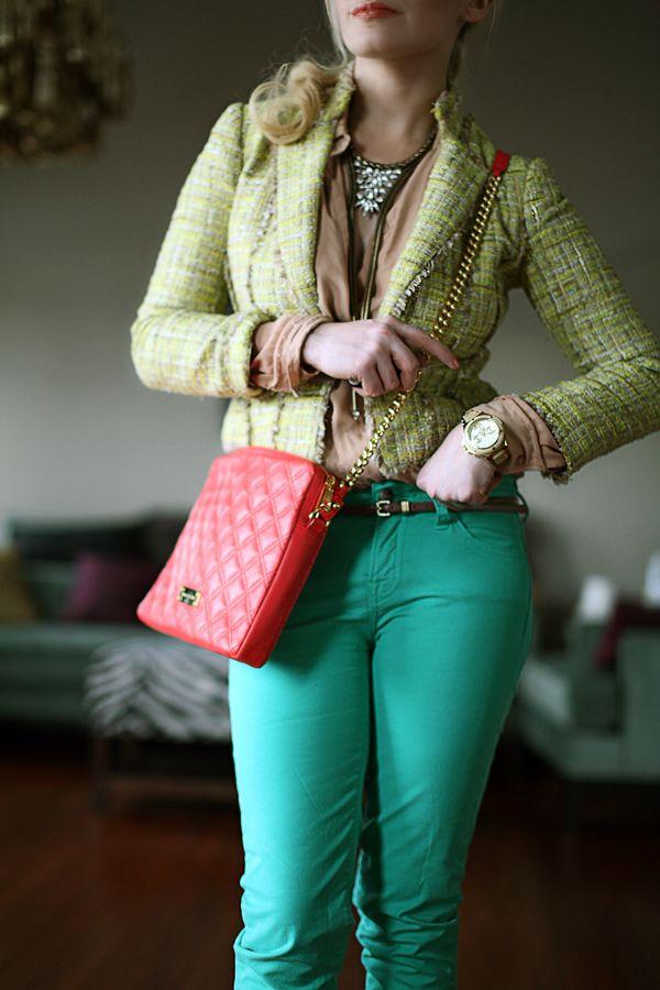 more teal pants! ( #patterned #blazer #bright #pants)