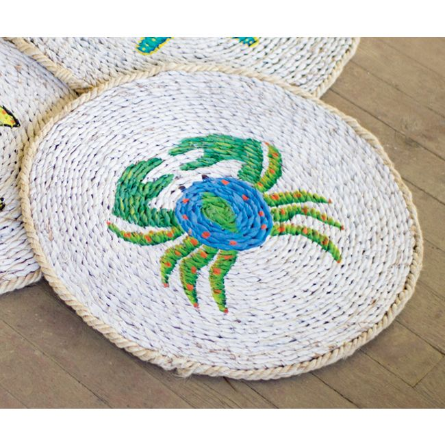 u003cpu003e colorful crab hand made hand woven grass mat perfect for indoor or outdoors woven rugbath madebeach