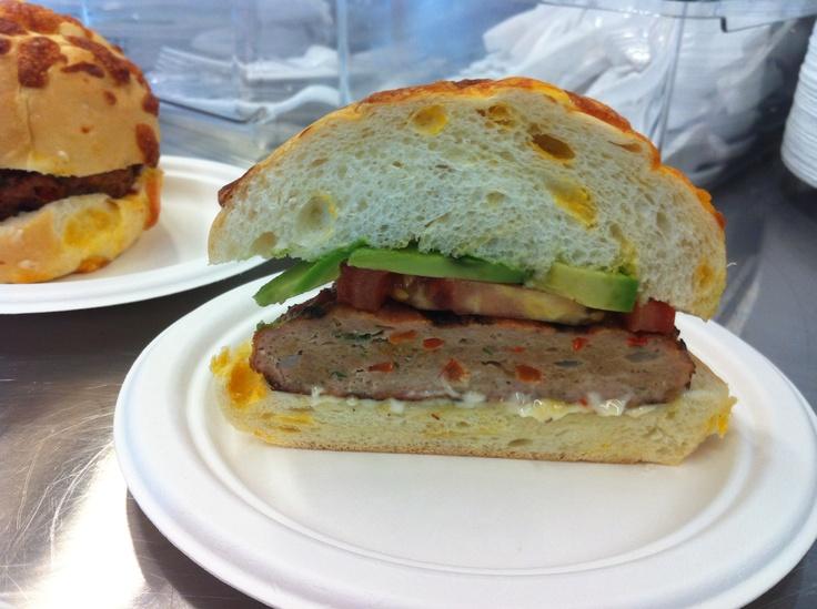 Chicken Burger with Avocado, Tomato on a cheese bun