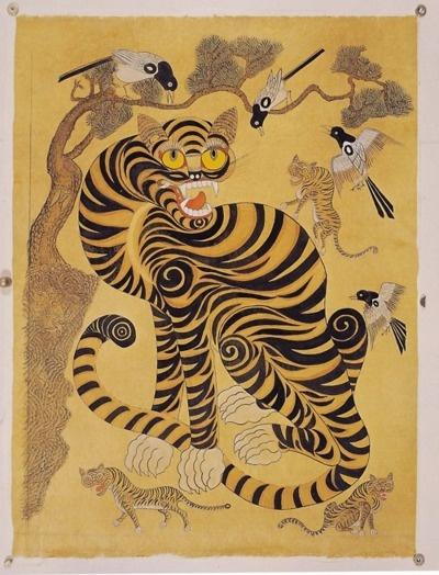 Korean folk art. Tiger, birds.