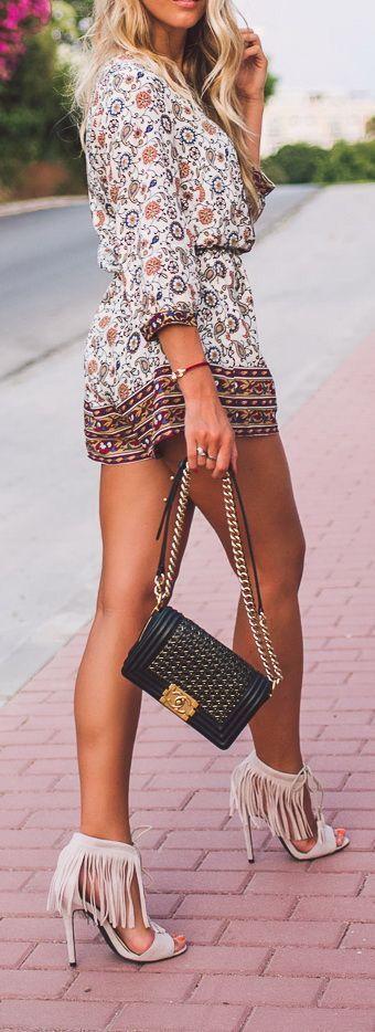 Romper & fringe heels.