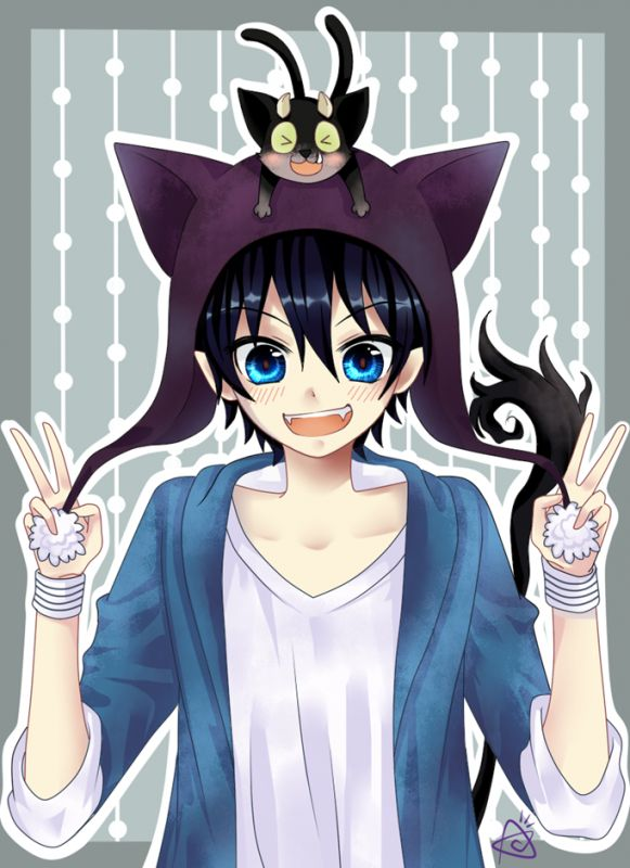 Its blue exorcist... but it looks so much like kirito! kirito needs to play a cat character xD