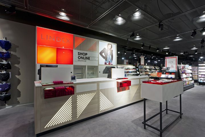 Cash Desk  Display oppotunity  Lindex store by Dalziel and Pow, Oslo store design
