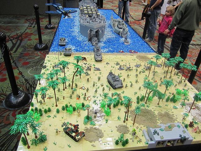 Brickmania will bring a 24 foot LEGO diorama of the battle of Peleliu to EMTRAC. This model includes a 10 foot long model of a LST made of LEGOs, complete with vehicles, LEGO soldiers, and accessories.