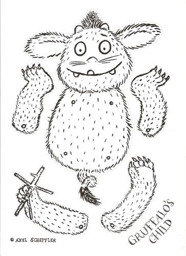 Baby Gruffalo Print Out, all that's needed are a few brass brads and some color!