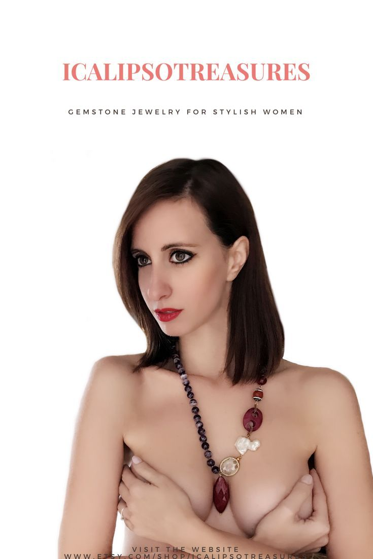 Amethyst statement necklace for women, made of natural gemstones, it is perfect as Christmas or birthday jewelry gift for wife, girlfriend or mom.  Visit the website to see more