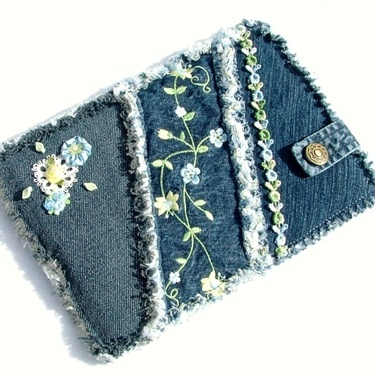 Denim patchwork Kindle case / sleeve