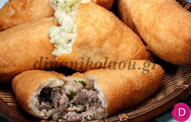 Πιροσκί με γέμιση πατάτας ή κιμά | Dina Nikolaou