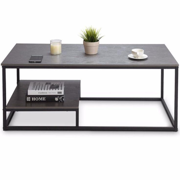 2tier modern wood steel coffee table coffee table