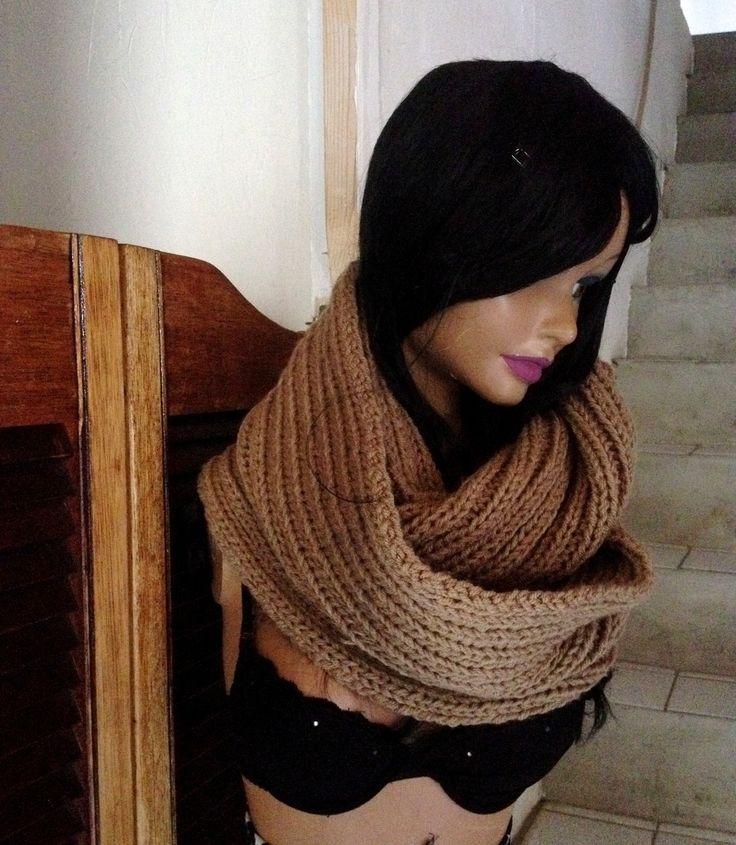 tour de cou, écharpe capuche, long, marron clair tricoté main : Echarpe, foulard, cravate par anita-vintage