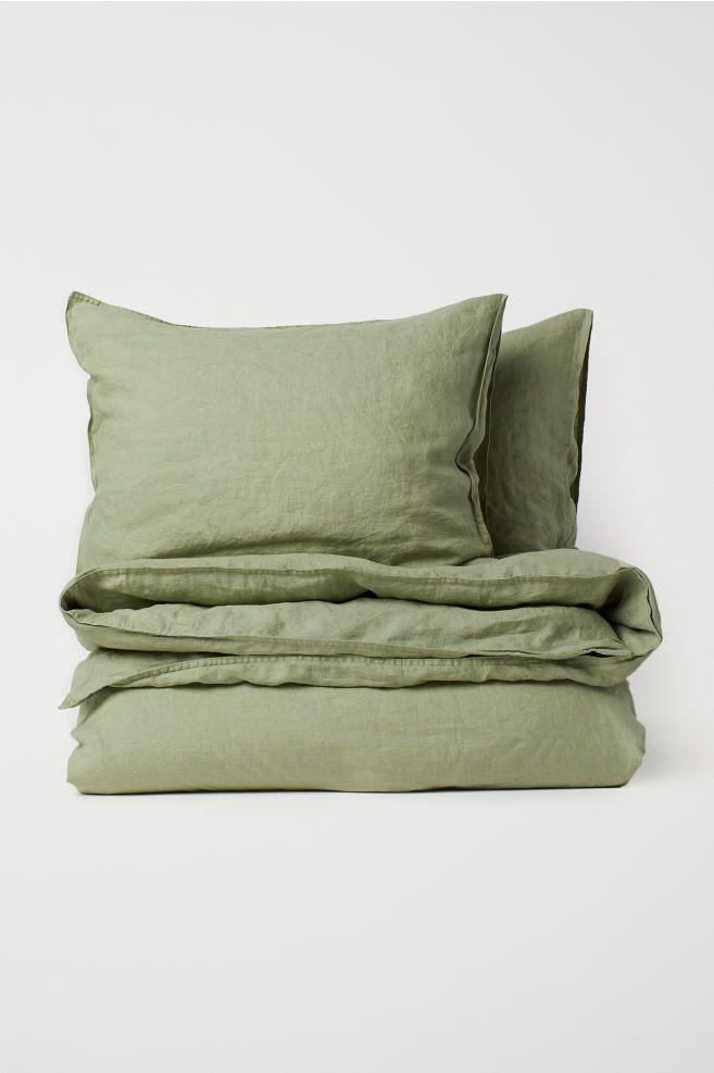 Washed Linen Duvet Cover Set Dusky Green Home All H M Gb Duvet Cover Sets Duvet Covers Washed Linen Duvet Cover
