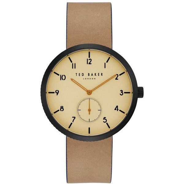 Men's Ted Baker London Josh Leather Strap Watch, 42Mm ($185) ❤ liked on Polyvore featuring men's fashion, men's jewelry, men's watches, mens leather strap watches, mens diamond watches, mens watches jewelry and ted baker mens watches