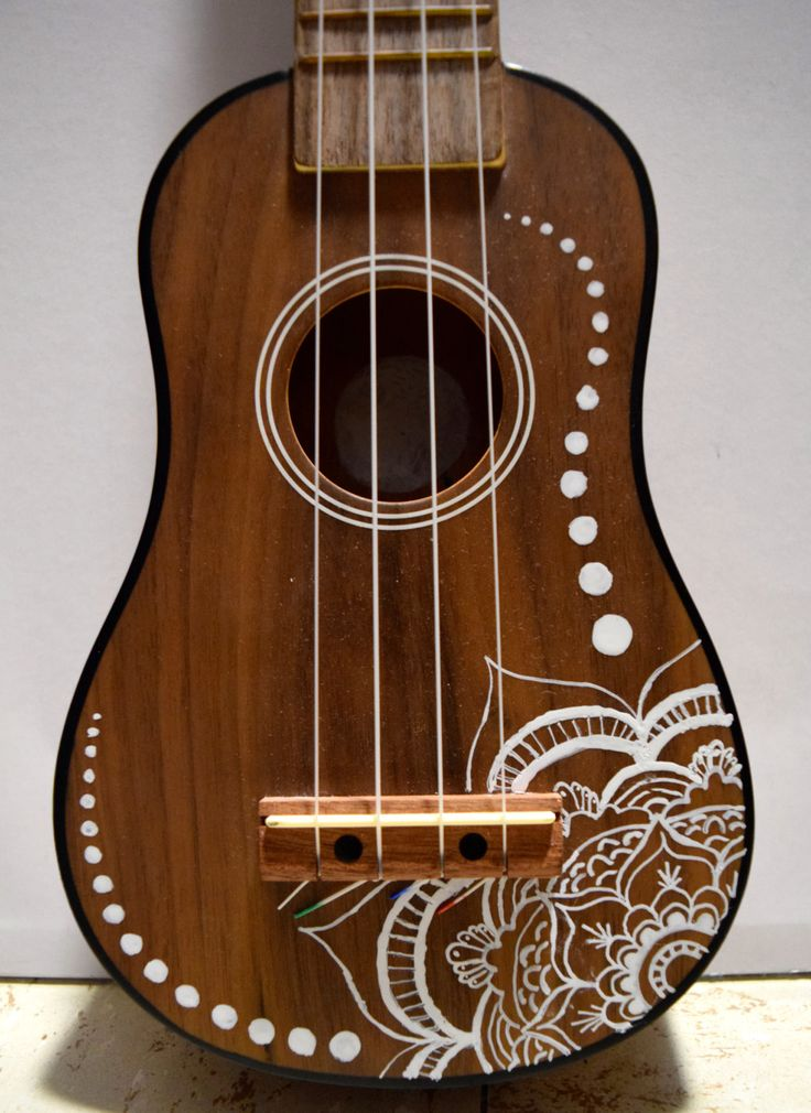 Soprano ukulele with hand painted design flower design for Acoustic guitar decoration