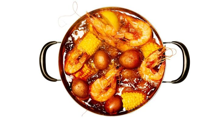 Set a large colander in the sink before you add the shrimp so you can drain the boil as soon as it comes off the heat.Ingredients6 servings2 pounds small red-skinned potatoes¼ cup Zatarain's Crawfish, Shrimp & Crab Boil or Old Bay Seasoning, plus more for servingKosher salt2 lemons, divided4 ears of