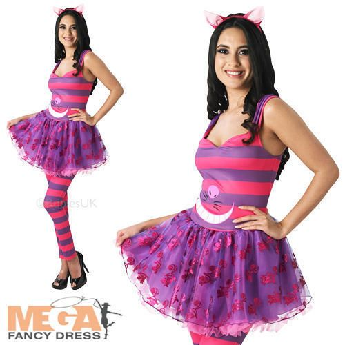 Sassy Cheshire Cat Ladies Fancy Dress Alice in Wonderland Womens Costume Outfit