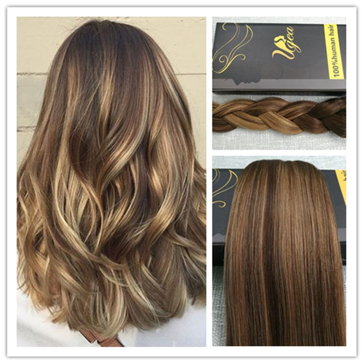 6A Balayage Brown with Blond Dip Dye Remy Thick Clip In Human Hair Extensions #Ugea #Ombr