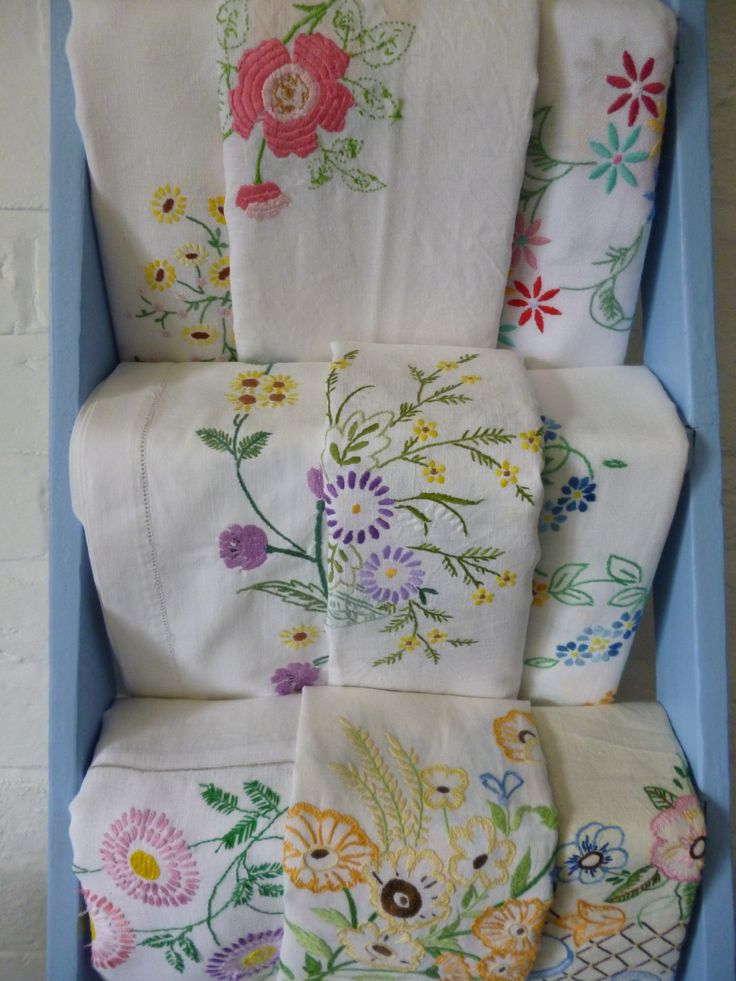 Beautiful embroidered vintage linens...