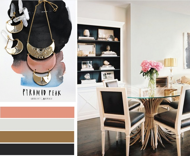 simple, masculine, with a hint of pink: Dining Room, Color Palettes, Beautiful Palettes, Colors Palettes, Colors Schemes, Club Chairs, Design Table, Black Beautiful, Dining Tables