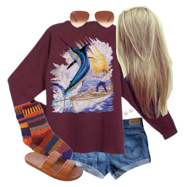 """""""Hangin' after school"""" by lo-wren ❤ liked on Polyvore featuring Guy Harvey, Solmate Socks, Kenneth Jay Lane, Ray-Ban, women's clothing, women, female, woman, misses and juniors"""