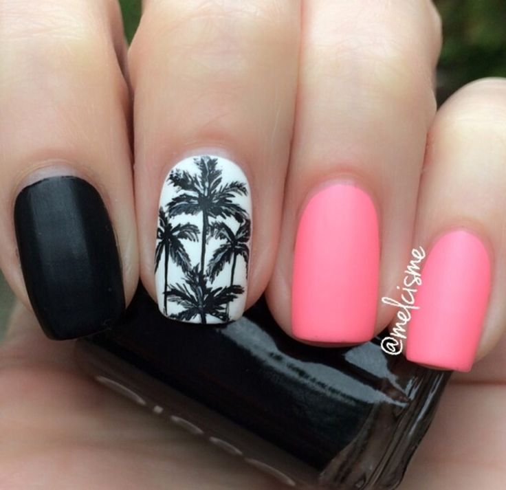 Palm trees  nail art by Melissa